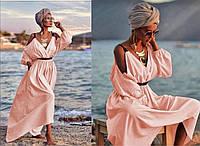 Жіночий сарафан з льону розмір оверсайз 48-52, колір уточнюйте при замовленні, фото 1