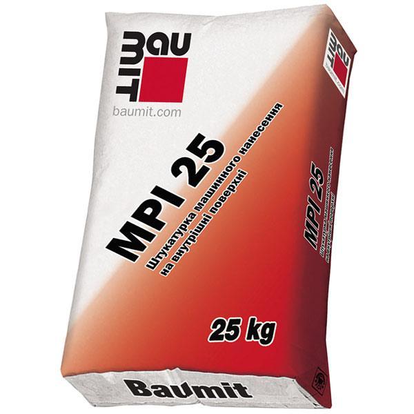 Штукатурка цементно-вапняна BAUMIT (Бауміт) MPI 25 для ручного і машинного нанесення (25кг)