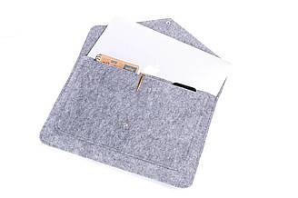 Фетровый чехол-конверт Gmakin для Macbook Air 13 2018-2020 MacBook Pro 13 2016-2019 Серый GM07-13, КОД: