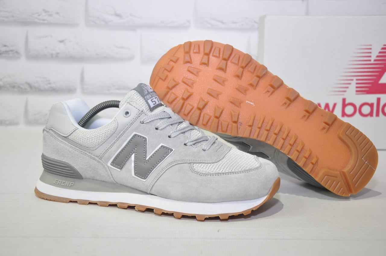 Чоловічі кросівки сірі натуральний нубук і текстиль в стилі New Balance 574