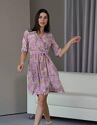Женское розовое шифоновое платье с цветочным принтом