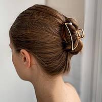 Заколка-крабик для волос с жемчуженкой - металический