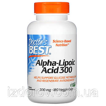 Doctor's Best, Альфа-Липоевая кислота 300 мг, Alpha-Lipoic-Acid, 180 капсул