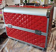 Б'юті алюмінієвий кейс валізу з ключем корал куби об'ємні ромби