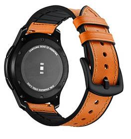 Ремешок BeWatch 22мм Силикон + Кожа для часов универсальный Коричневый (1230104)