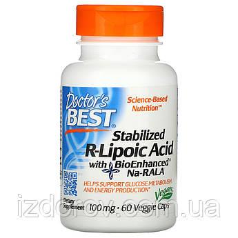 Doctor's Best, Стабилизированная R-липоевая кислота 100 мг, R-Lipoic-Acid, 60 растительных капсул