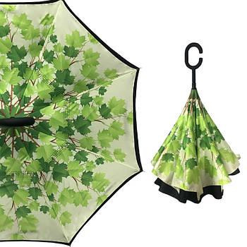 Зонт-трость наоборот Up-Brella Листья Черно-зеленый (2907-13279)