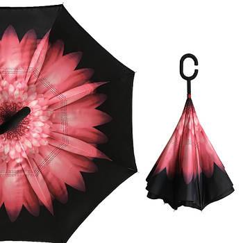 Зонт наоборот Up-Brella Гербера Черно-розовый (2907-13273)