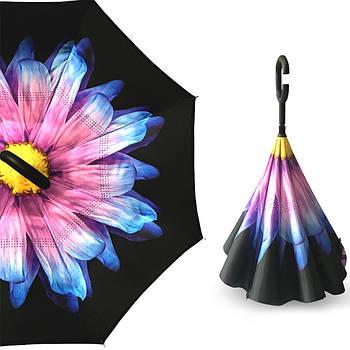 Зонт обратного сложения Up-Brella Цветок Сиреневый Разноцветный (2907-13294)