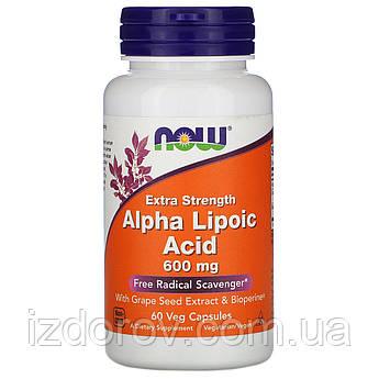 Now Foods, Альфа-липоевая кислота экстра сила 600 мг в капсулах, для похудения Alpha Lipoic Acid, 60 шт