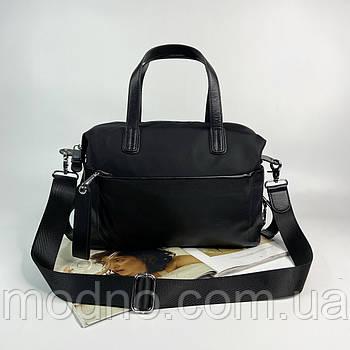 Жіноча текстильна сумка на та через плече з широким ремінцем чорна