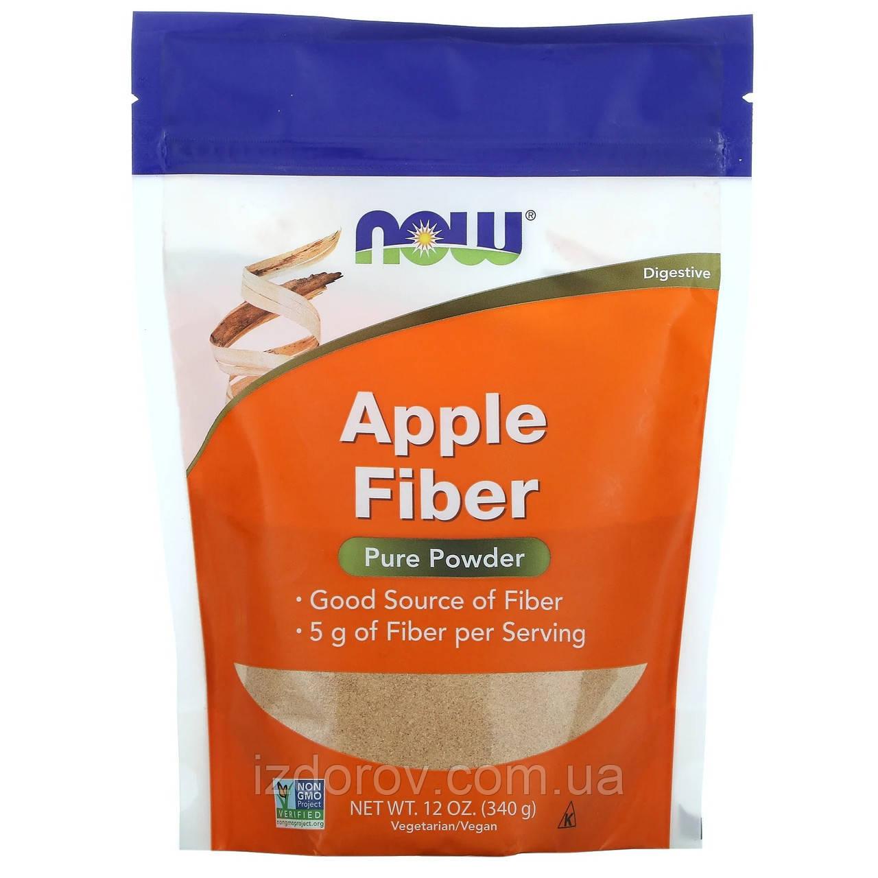 Now Foods, Чистая яблочная клетчатка с пектином и целлюлозой, Pure Apple Fiber, 340 г