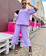 Женский стильный костюм широкие укороченные брюки и блузка, фото 1