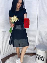 Женская юбка с экокожей