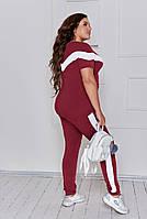 Літній жіночий спортивний костюм з двунити з лампасами (Батал), фото 7