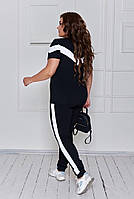 Літній жіночий спортивний костюм з двунити з лампасами (Батал), фото 9