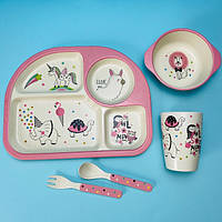 Бамбуковая посуда для детей единорог Bamboo fibre kids set
