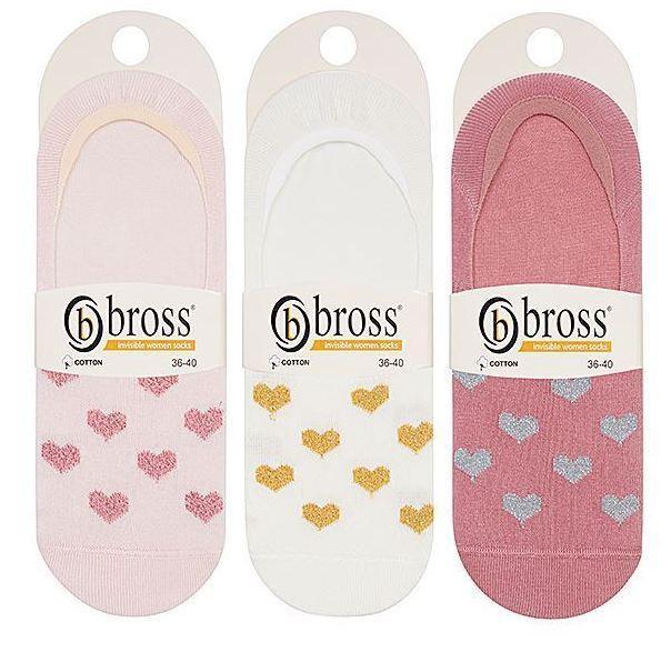Набор 3 шт. Носки женские невидимые Bross сердечки