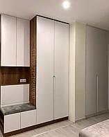 Шафа у вітальню в сучасному стилі з фарбованими фасадами мдф