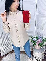 Жіноча однотонна сорочка з кишенями на грудях