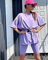 Жіночий стильний костюм футболка і шорти з поясом в комплекті, фото 1