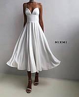Женское стильное нарядное платье на бретелях