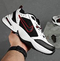 Мужские кроссовки Nike Air Monarch IV весна-осень демисезонные белые с черным. Живое фото. Реплика