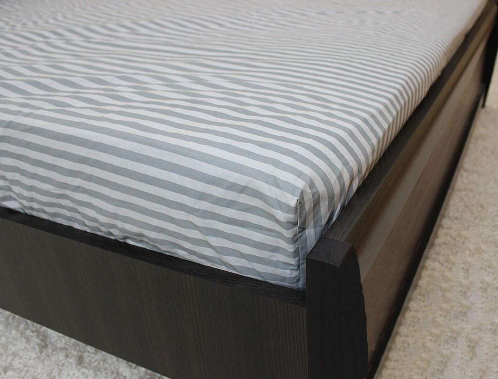 Двоспальне простирадло на резинці - Сіра полоска