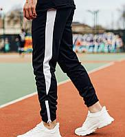 Мужские штаны спортивные брюки Rocky весна-осень-лето черные с белым. Живое фото
