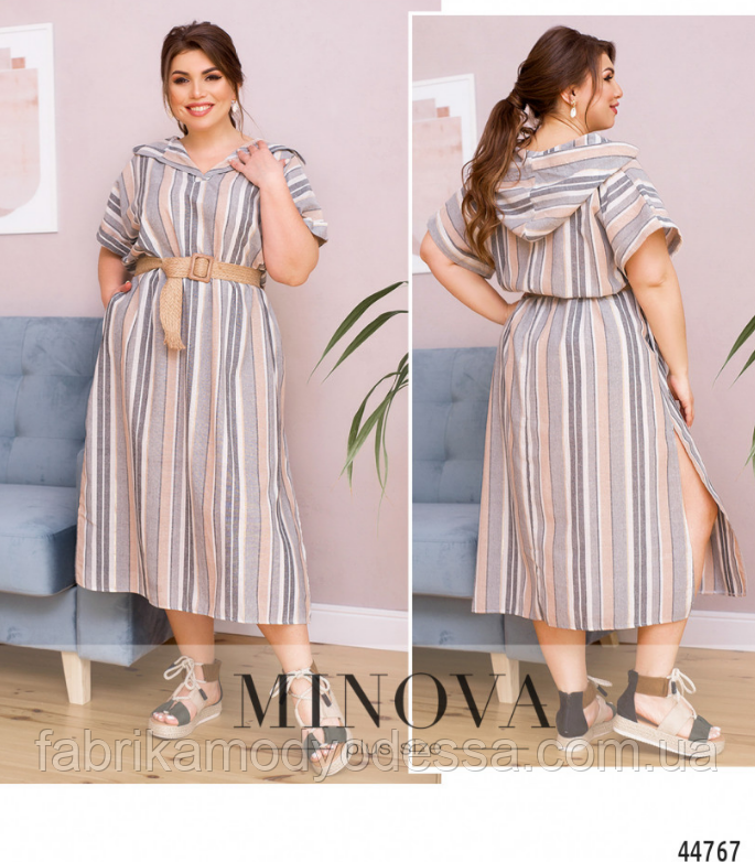 Стильное льняное платье Размеры: 54-56, 56-58