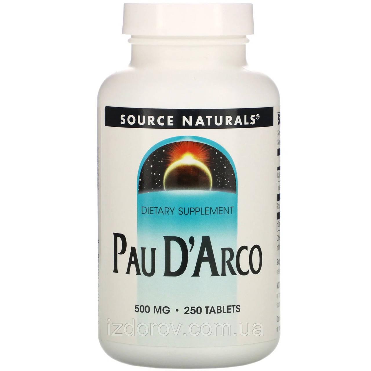 Source Naturals, Кора муравьиного дерева Pau D'Arco 500 мг, Пау Д'Арко, природный антибиотик, 250 таблеток