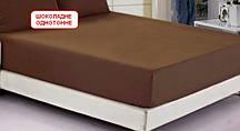 Двоспальне простирадло на резинці - Шоколадне однотонне світле