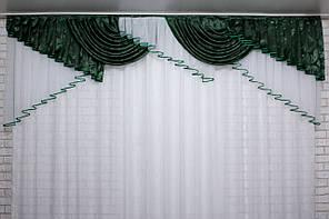 Ламбрекен из шторной жаккардовой ткани с шифоном, на карниз 3м. №144л, цвет зелёный с белым. Код 60-089