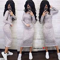 Трикотажное облегающее платье-футляр по фигуре за колено миди р-ры 42-46 арт. 2425