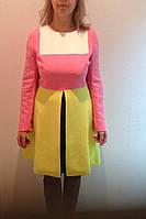Платье бело/розовое с длинным рукавом