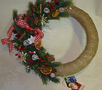 Венок новогодний из мешковины и литой хвои 40-45см