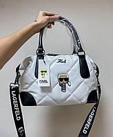 Жіноча стьобаний сумка Karl Lagerfeld White | Тоут Карл Лагерфельд Біла