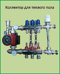 Коллектор для теплого пола  на 3 контура в сборе с трехходовым клапаном регулировки температуры