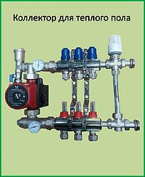 Коллектор для теплого пола  на 4 контура в сборе с трехходовым клапаном регулировки температуры