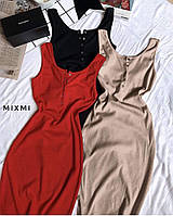 Стильне жіноче плаття на кнопках і бретелях, фото 1