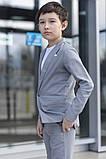 Дитячий брючний костюм піджак і штани льон сірий коричневий розмір: від 116 до 146-152, фото 3