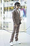 Дитячий брючний костюм піджак і штани льон сірий коричневий розмір: від 116 до 146-152, фото 2