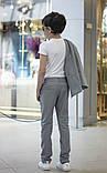 Дитячий брючний костюм піджак і штани льон сірий коричневий розмір: від 116 до 146-152, фото 5