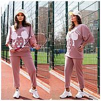 Жіночий літній спортивний костюм з футболкою і короткими штанами (Батал), фото 2