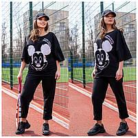 Жіночий літній спортивний костюм з футболкою і короткими штанами (Батал), фото 4