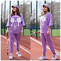 Жіночий літній спортивний костюм з футболкою і короткими штанами (Батал), фото 5