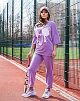 Жіночий літній спортивний костюм з футболкою і короткими штанами (Батал), фото 10