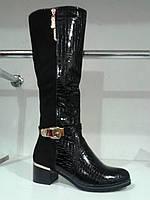 Высокие женские модные сапоги,лак+замша.р.37.