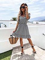 Красивое Молодёжное летнее платье приталенное с оборками ,черно белая клетка ,однотонное в расцветках.