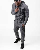 Спортивный костюм мужской тонкий (весна-лето-осень) c капюшоном темно-серый